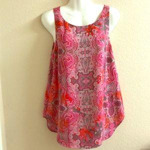 CAbi paisley sleeveless top pink/gray sz M